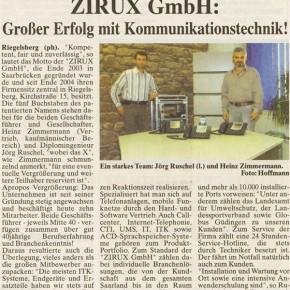 Zirux GmbH: Großer Erfolg mit Kommunikationstechnik!
